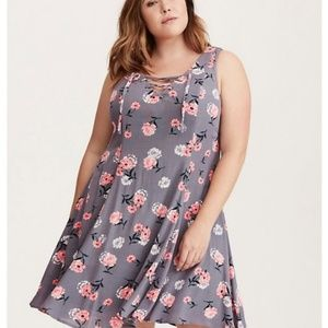 Torrid | Gray Floral Lace Up Swing Trapeze Dress